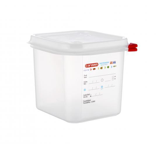Polipropilén tároló edény fedővel, GN 1/6,150mm