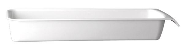 """Tálka GN 2/4 szögletes melamin """"CASCADE"""" 53x16,2cm, mag.:7,5cm, 3,65l - fehér színű"""