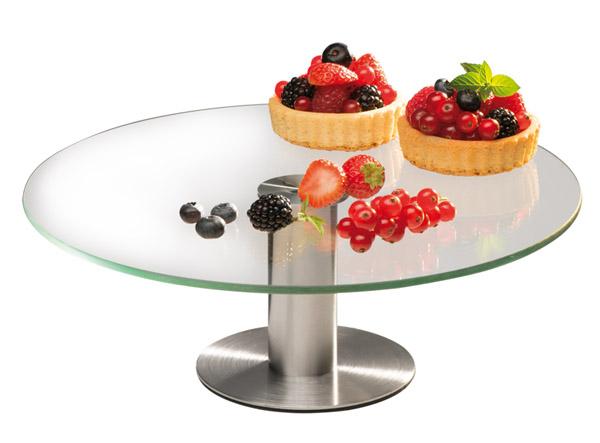 Torta kiemelő állvány üveg lappal , átm. 30cm, mag 11cm