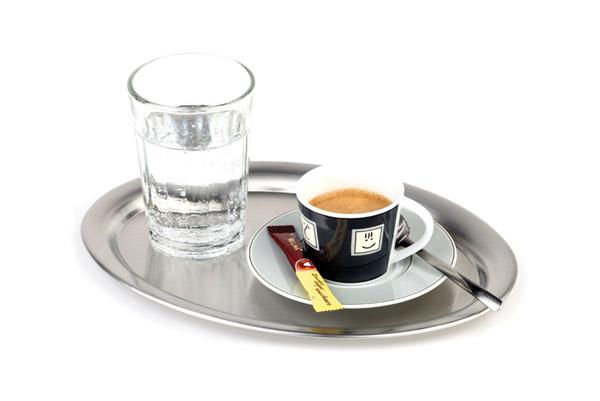 """Tálca """"kávéházi"""" ovális, rm.acél, 26x19cm, matt AP30112"""