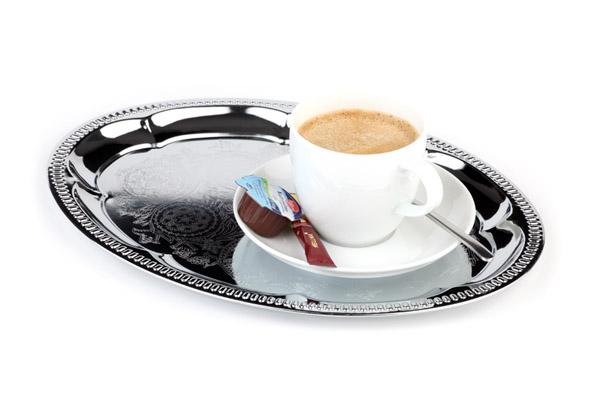"""Tálca """"kávéházi"""" ovális, krómozott, 30x22cm, díszített AP30114"""