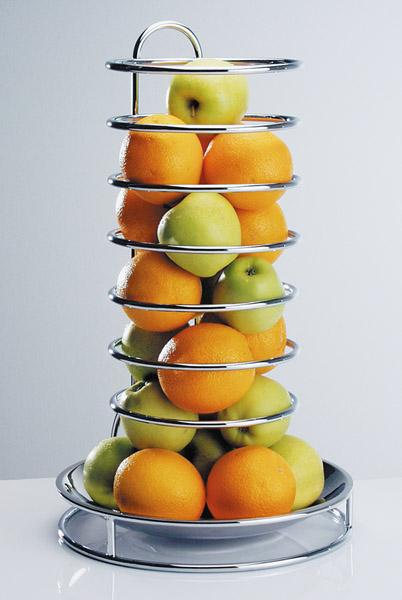 Gyümölcsállvány, krómozott, átm.32cm, mag.53cm