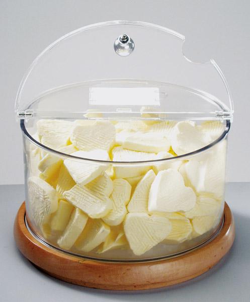 Vaj tartó tálka, hűtött 4-részes: 1db fa talp+1db polikarbonát edény+1db fedő+ 1db jégakku