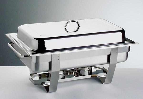 Chafing gn 1/1 rm.acél, tart.:1db gn 1/1 65 mm betét +2db égőfej PROFI