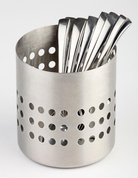 Evőeszköztartó rm.acél matt átm:10 cm, magasság:10,0 cm