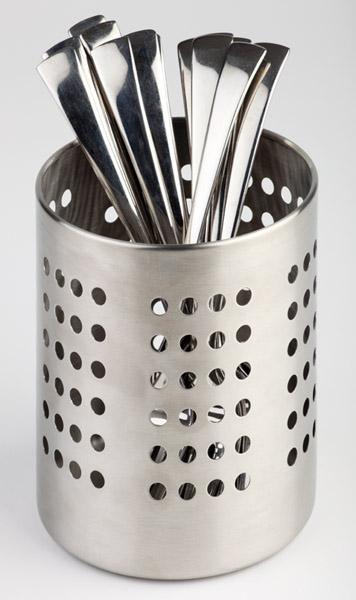Evőeszköztartó rm.acél matt átm:12 cm, magasság:13,5 cm