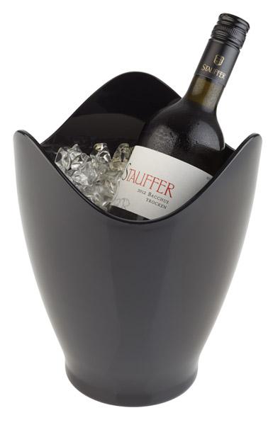 Bor és pezsgőhűtő Átm. 20cm, mag. 25cm, 3,5l, fekete műanyag