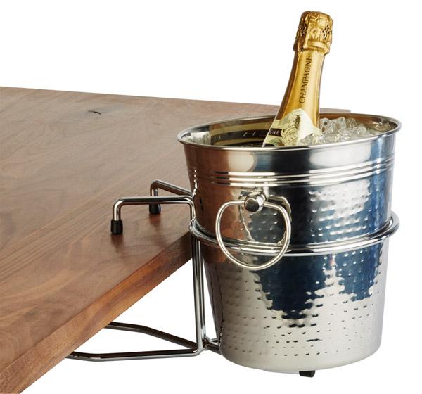 Asztali pezsgővödör tartó, rm acél, a vödörtartó kör átmérője: 18cm
