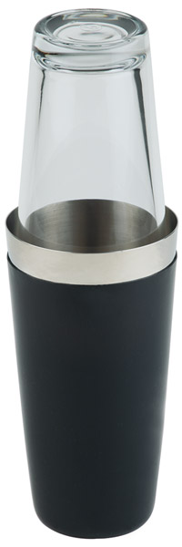 Boston shaker, két részes - fekete, csűszásmentes aljjal, átm: 9cm, mag:30cm, 0,7L
