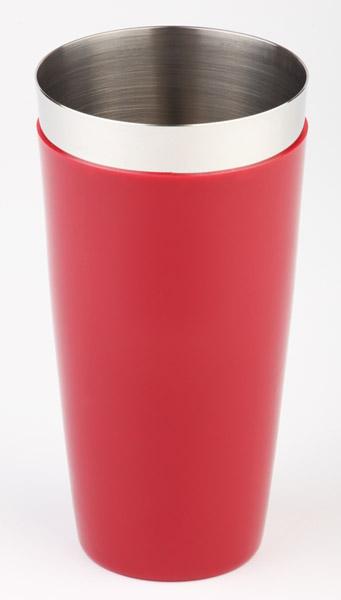 Boston shaker, két részes - piros, csűszásmentes aljjal, átm: 9cm, mag:30cm, 0,7L