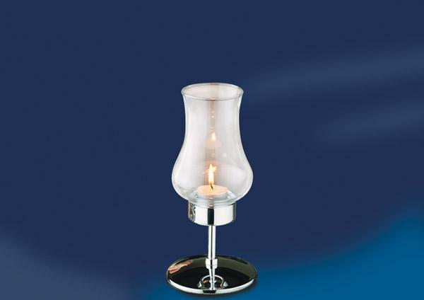 Asztali mécses krómozott talppal+üveg búrával, mag.22cm, átm.11cm (AP03013)