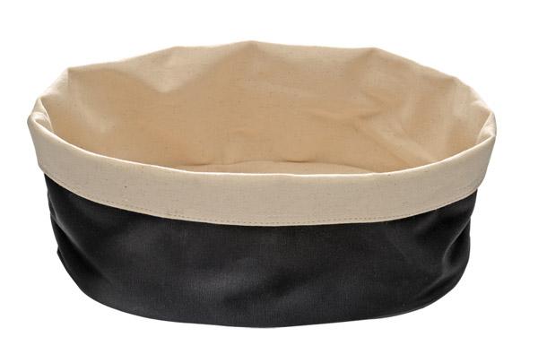 """Kenyértartó """"zsák"""" ovális,  20x15cm, - homok fehér/fekete pamut (AP30361)"""