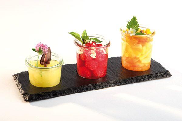 Üveg edény tartó tálca, 3 üvegnek, pala hatású (lyuk átm. 5,5cm)
