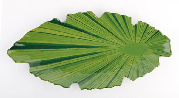 NATURAL tál, levél alakú, 40x18x3,5cm zöld (AP84085)