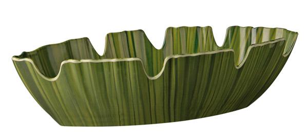 NATURAL tál, levél alakú, 40x18,5x10cm zöld (AP84082)