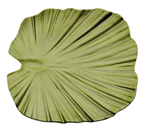NATURAL tál, levél alakú, 42x42x4,5cm zöld (AP83866)