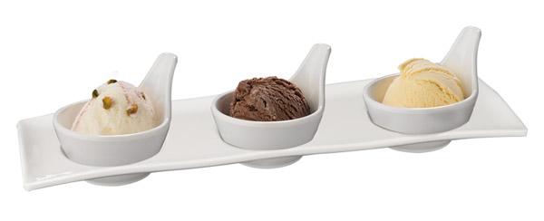 Gourmet tálca, 30,5x9,5x2,5, (3 tálkával, 7x6cm), (AP84017+3x87018)