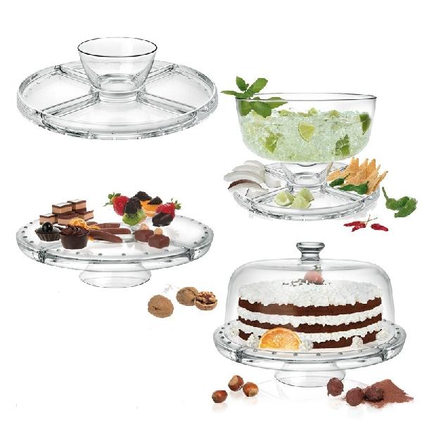 4 az 1-ben Tortaállvány és kínáló tál, üveg, 31cm, mag 24,6 (T186032)