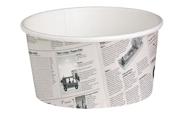 "Papír tégely ""újságpapír"" 600 ml Ø114 mm, 50db, (49,7 Ft/db) (SIPCF0600)"
