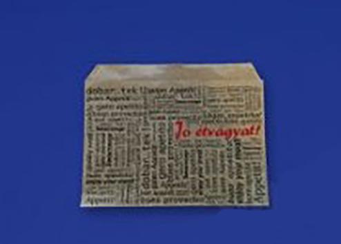 Burgonyás papírtasak - Jó étvágyat! - 140 x 100 mm barna zsírálló 2000db/csomag (3,83 Ft/db) (SPZ001600)