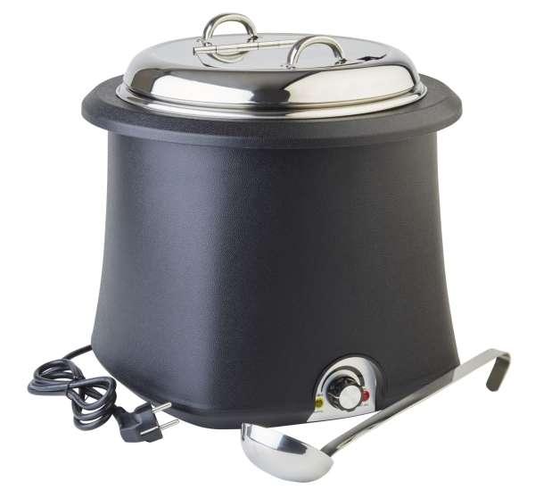 Elektromos leveses chafing 10 literes, fekete/króm átm: 38cm, mag:36,5cm (AP11901)
