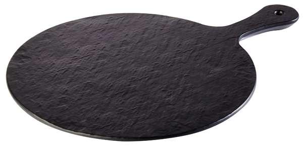 Kínáló tálca melamin basalt hatású átm. 30x1,5cm, nyél, 12cm (AP84257)