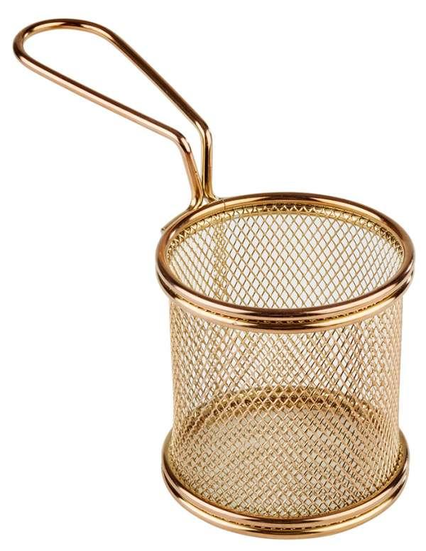 Mini Fritu, fritőz kosár, rm.acél arany PVD bevonattal, Ø 8cm, mag:7,5cm, nyél:9,5 (AP40602)