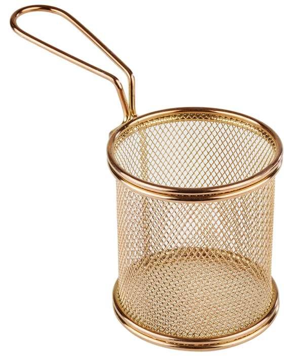 Mini Fritu, fritőz kosár, rm.acél arany PVD bevonattal, Ø 10cm, mag:8,5cm, nyél:9 (AP40603)