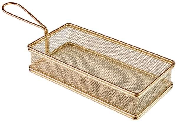 Mini Fritu, fritőz kosár, rm.acél arany PVD bevonattal, 21x10,5cm, mag:8,5cm, nyél:9 (AP40612)