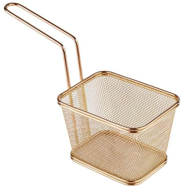 Mini Fritu, fritőz kosár, rm.acél arany PVD bevonattal, 13x10,5x9cm, nyél:13,5cm (AP40623)