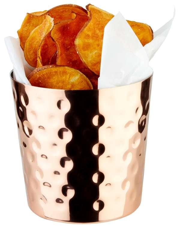 Snack tartó rm. acél réz bevonattal, Ø 8,5x8,5cm 0,35l (AP40618) kalapált oldallal