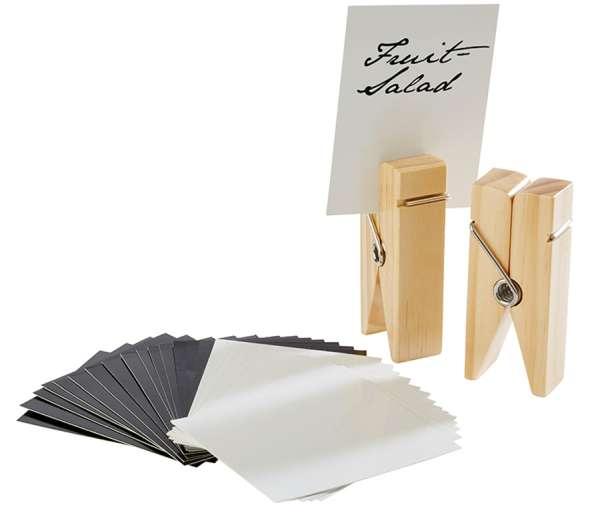 Kártya tartó fa csipesz szett 4x2,5x10cm natur (AP71487)