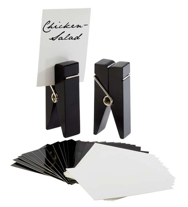 Kártya tartó fa csipesz szett 4x2,5x10cm fekete (AP71489)