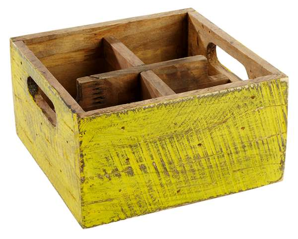 Asztali 4 részes fa festett tartó sárga 17x17x10cm (AP11637)