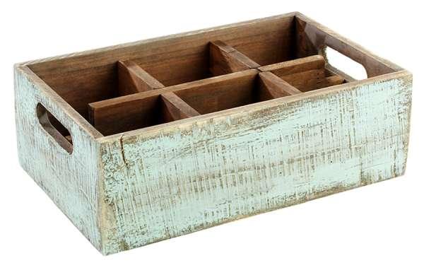 Asztali 6 részes fa festett tartó türkiz 27x17x10cm (AP11639)