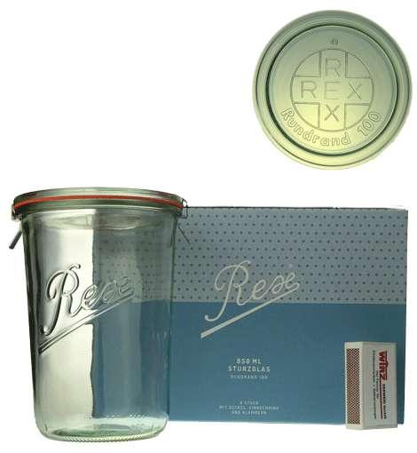 Rex-STURZ üveg 0.850l, tetö, gumigyürü és csat Rex Horeca (BRE1850)