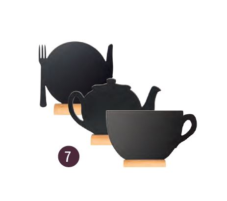 Securit® sziluett teapot/plate/cup mini kréta tábla - 3-as készlet: Teáskanna-Tányér-Csésze - fa alap, krétamarkert tartalmaz, 10x12x2cm (SEC1054)