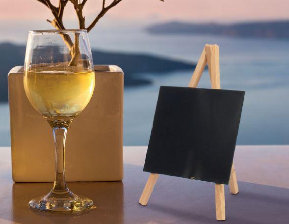 Securit® Mini háromlábú asztali krétatábla - Lakkozott Bükkfa lábbal - 24x15cm (SEC1059)