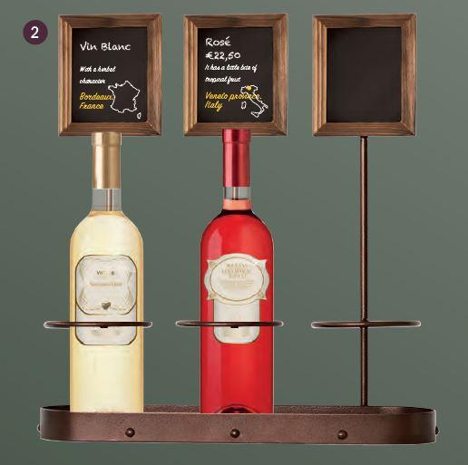Securit® Üvegtartó krétatábla display -Három üvegnek (olajnak vagy borosüvegnek) - 39x45cm (SEC1188)