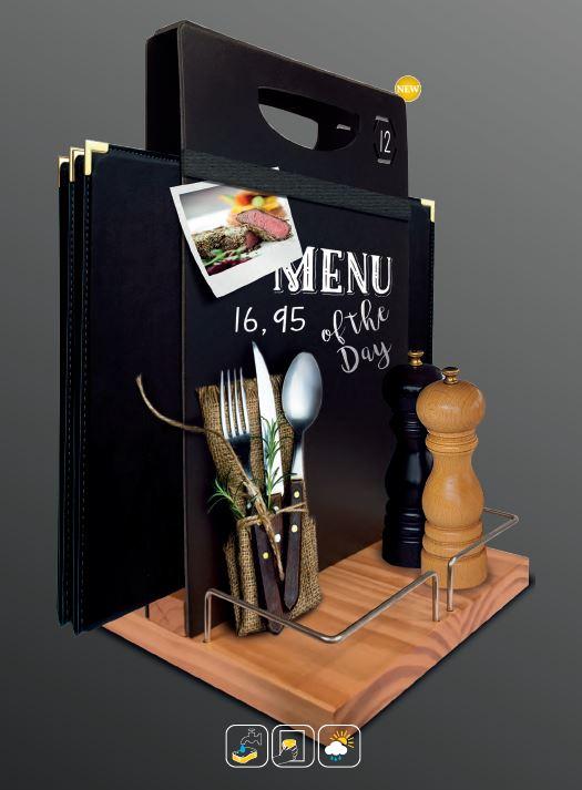 Securit® kétoldalas asztali bekészítés, Fa talppal, fém kerettel, gumiszalaggal, krétamarkerrel 34,3x22x20cm (SEC1183)