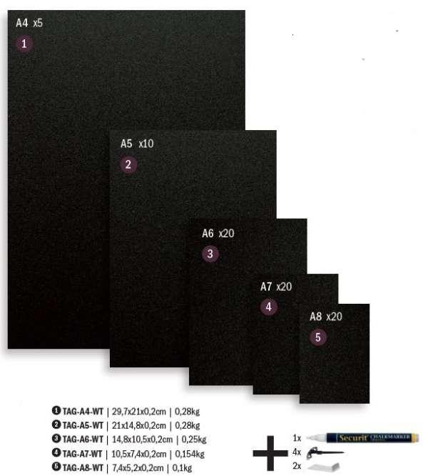 Securit® krétatábla A4, 5 darabos: krétamarkerrel, 4 tüskével - and 2 átlátszó tartóval (SEC1071)