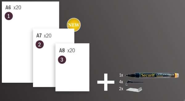Securit® Krétatábla fehér A7, 20 darabos, krétamarkerrel, 4 tüskével - and 2 átlátszó tartóval (SEC1075)