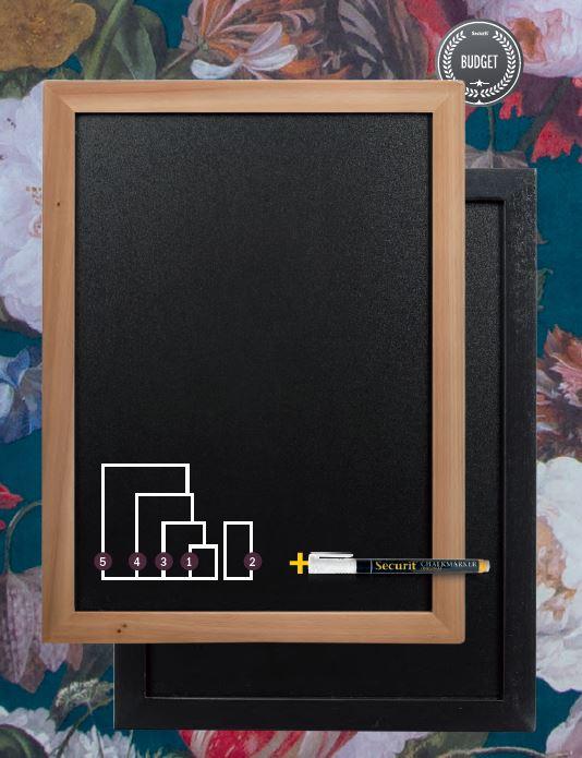 Securit® Woody krétatábla - Lakkozott, fekete fa kerettel -60x80cm- Ajándék fehér krétamarkerrel! (SEC1005)