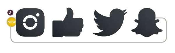 Securit® Kréta tábla 30x50 cm Közösségi média krétamarkerrel és ragasztócsíkkal/ 4 darabos készlet: Facebook, Instagram, Twitter, Snap Chat (SEC1022)