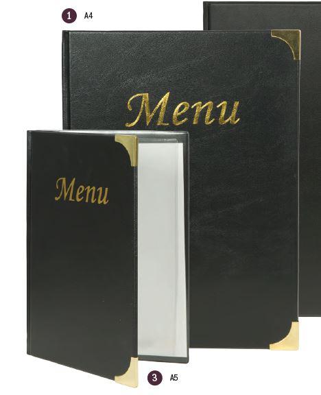 Securit® Basic A4 Étlap tartó, FEKETE, 4 fix betétlapot tartalmaz (8 db A4-es oldal) (M001)