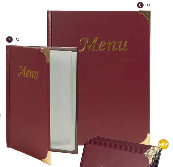 Securit® Basic A4 Étlap tartó, BORDÓ, 4 fix betétlapot tartalmaz (8 db A4-es oldal) (M002)