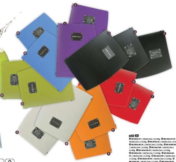 Securit® Rio A4 Étlap tartó, 1 dupla betétlapot tartalmaz (a betétlapok 4 db A4-es oldalt tartalmaznak). NARANCSSÁRGA (M008)