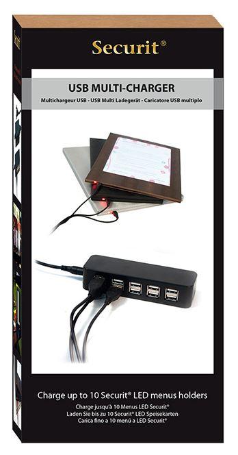 Securit® LED menütartók hálózati adaptere (220V), egyszerre 10 menütartó töltésére alkalmas, 2x5 USB bemenettel. (LM1007)