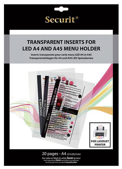 Securit® LED menütartók átlátszó betétlapja, tinta sugars nyomtatóval nyomtatható. 20 db a csomagban. (LM1008)