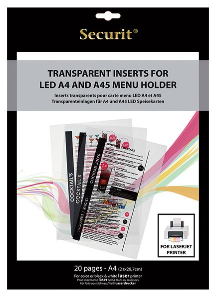 Securit® LED menütartók átlátszó betétlapja, lézer nyomtatóval nyomtatható. 20 db a csomagban. (LM1009)